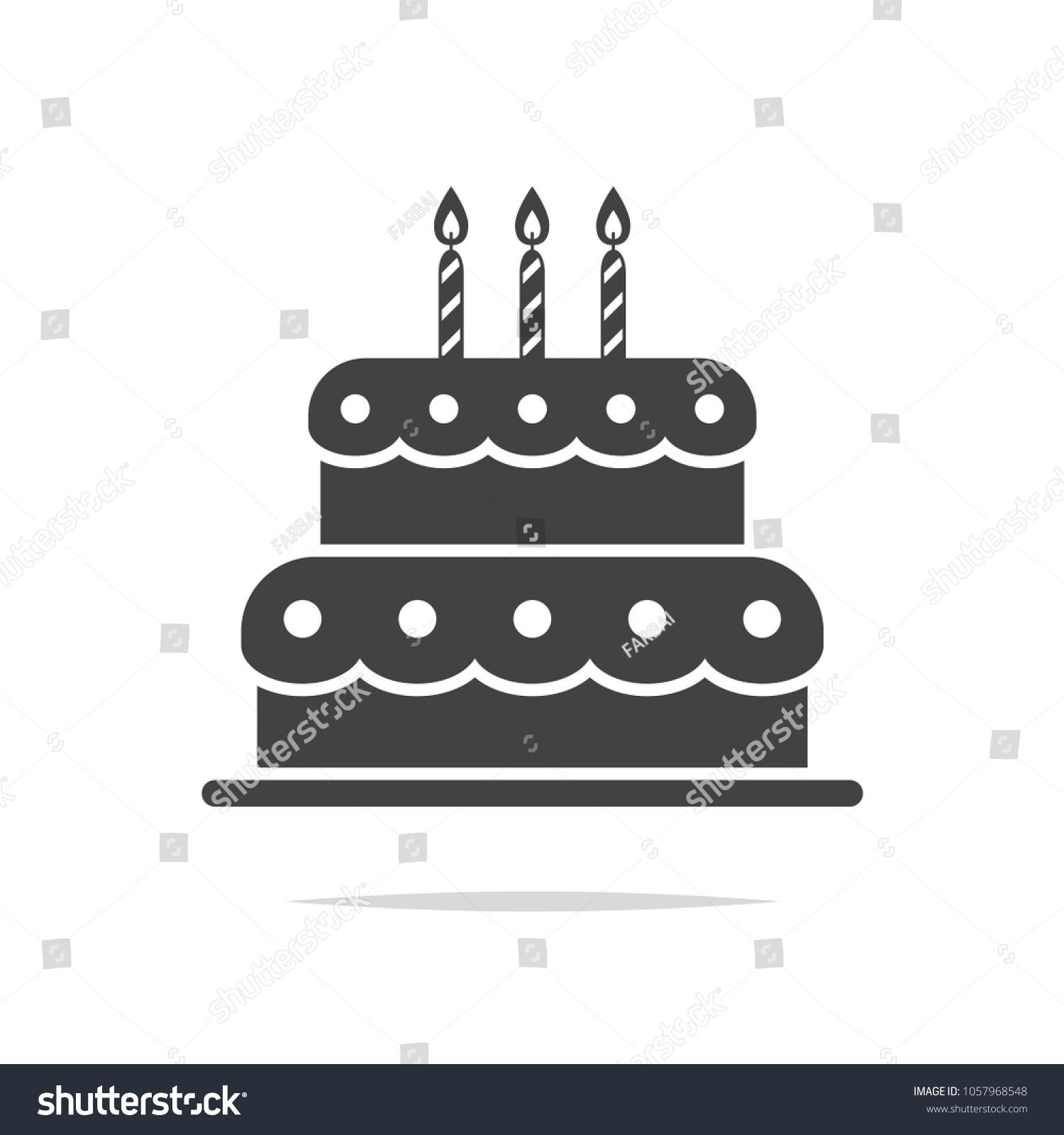 Birthday Cake Icon Vector Isolated Stock Vector 1057968548