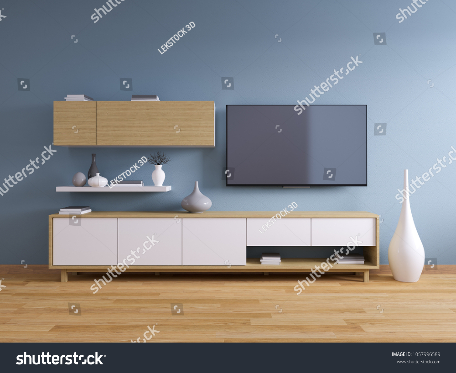 Tv Stand Modern Interior Living Room Stock Illustration