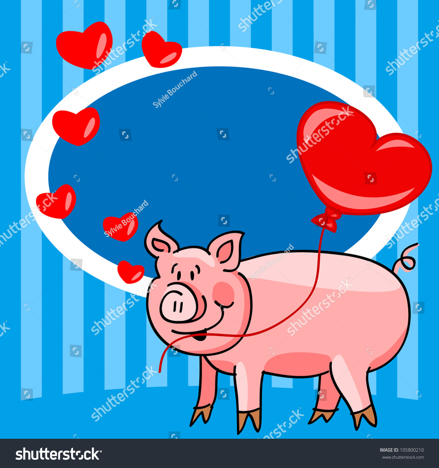 Cute And Fun Hand Drawn Cartoon Pig Holding A Heart Balloon With Room For Your Text