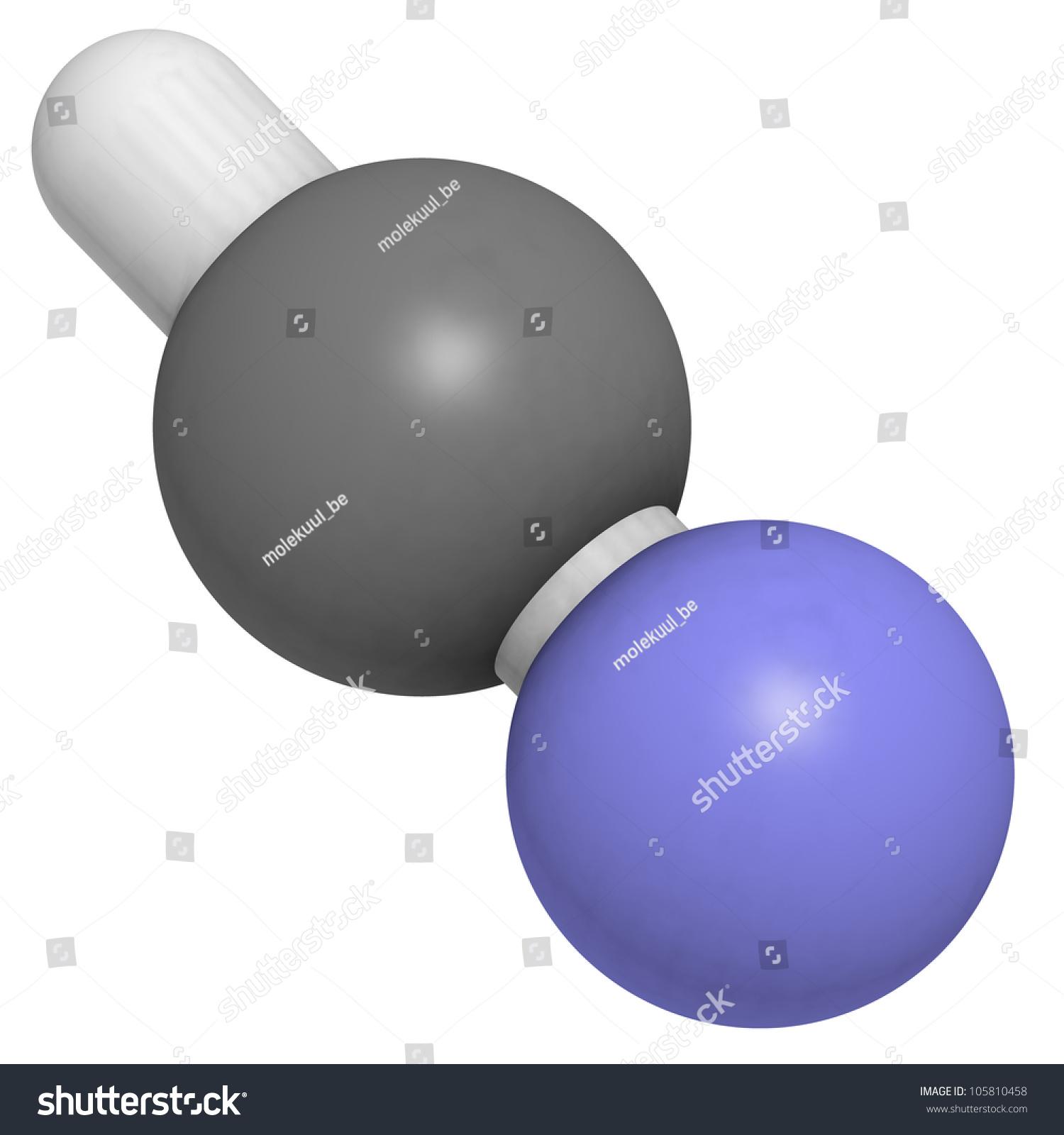 Hydrogen Cyanide (Hcn, Prussic Acid) Molecule, Chemical ...