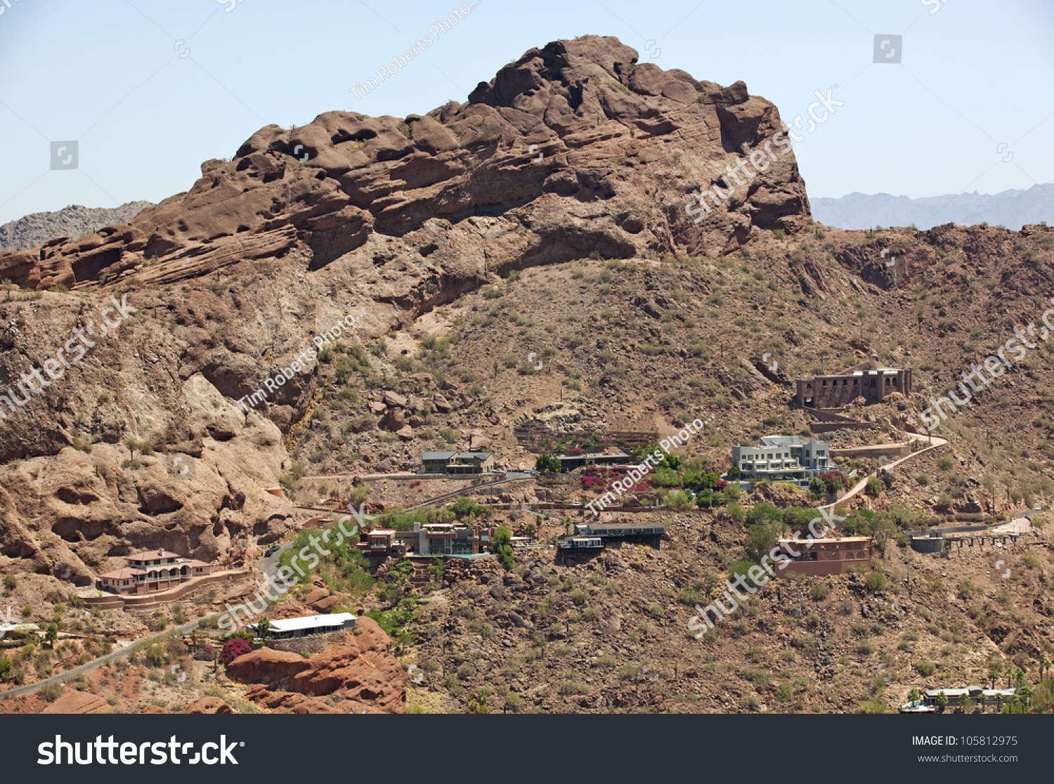 Homes built into the steep walls of camelback mountain in House built into mountain