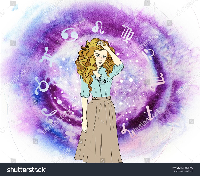 Leo Lion Woman On Asto Background Stock Illustration Royalty Free