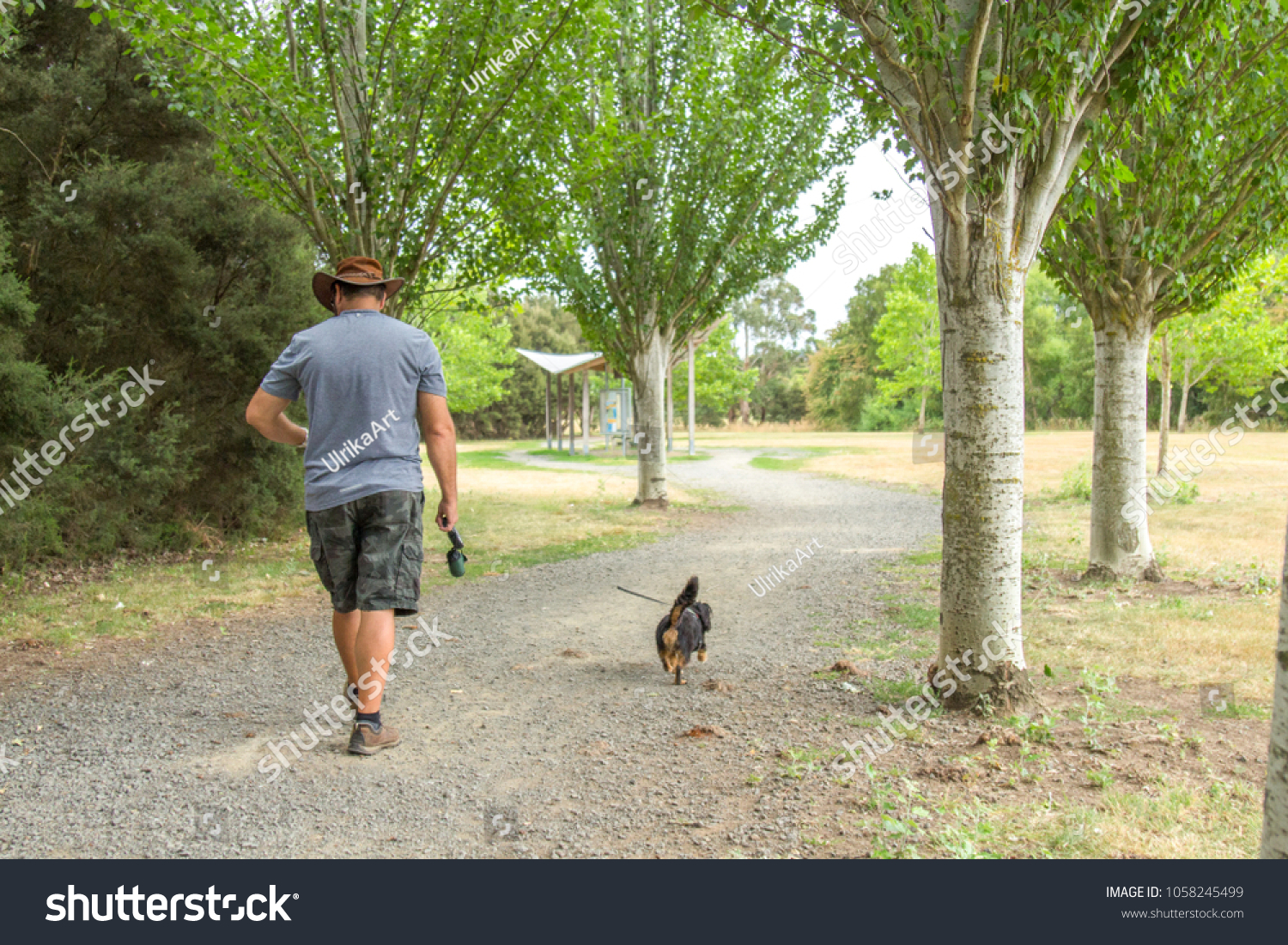 Man Walking His Small Dog Local Parks Outdoor Stock Image 1058245499