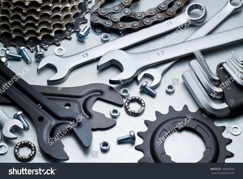 Bike Repairing Spare Parts Tools Stock Photo 105828266