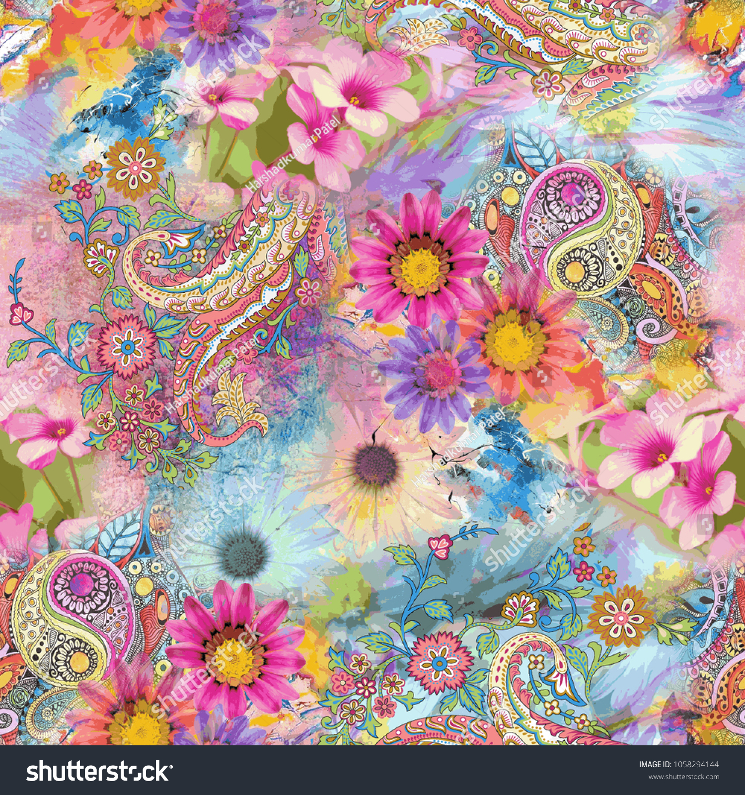 Paisley Seamless Pattern With Flower Pattern