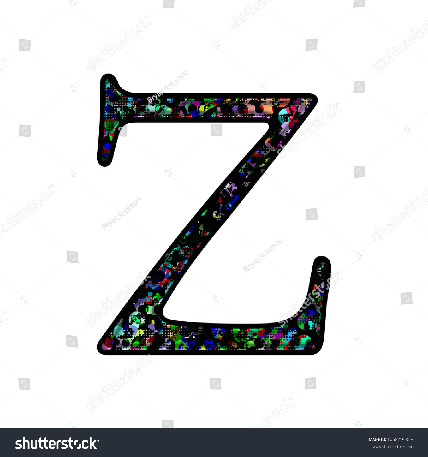 Graffiti style splattered paint letter z uppercase or capital in a 3d illustration with