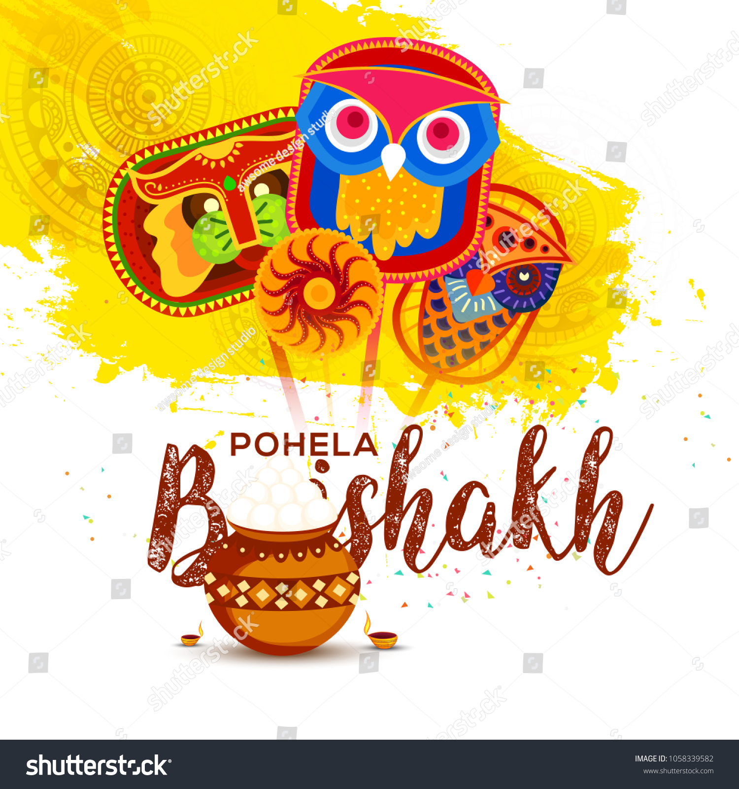 illustration of bengali new year pohela boishakh greeting card background