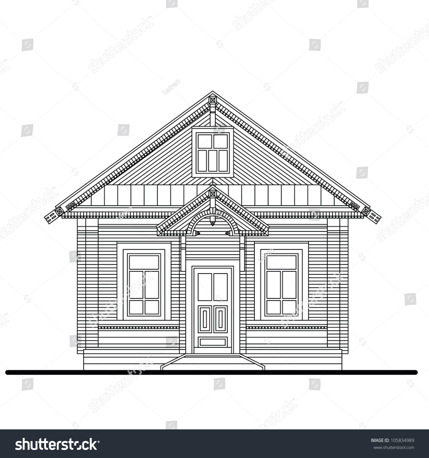 Drawing Of A Front Facade Of Small Wooden House With