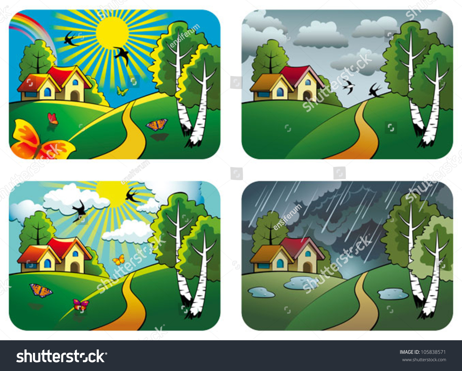Set Different Weather Landscapes Sunny Cloudy Stock Vector ...