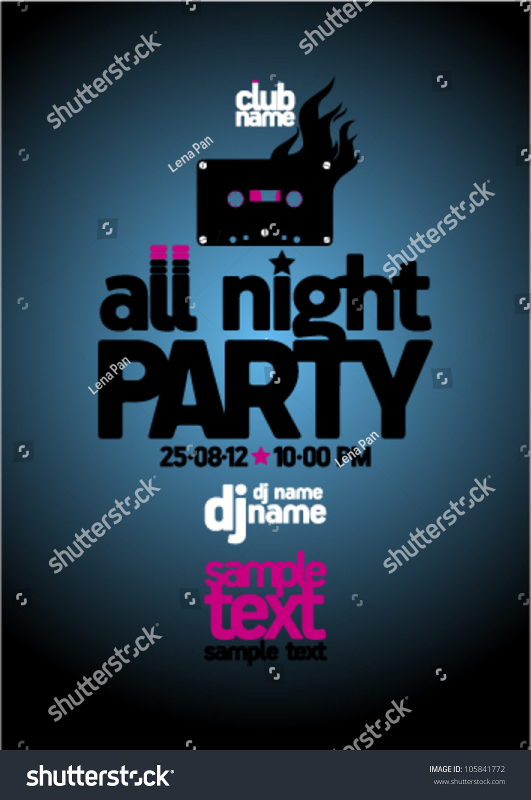 All Night Party Design Template With Place For Text. Stock Vector ...