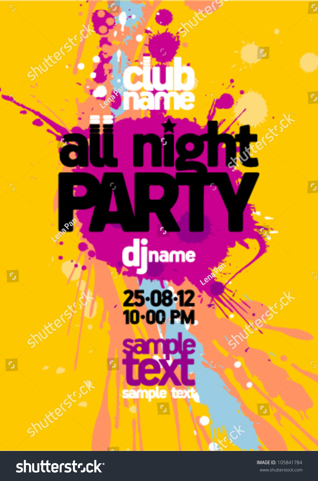 All Night Party Design Mock Up Stock Vector 105841784 - Shutterstock