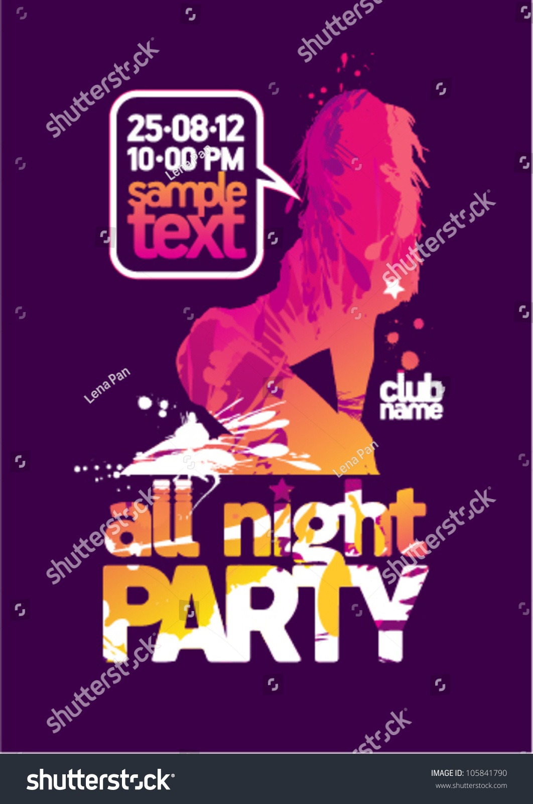 All Night Party Design Template Fashion Stock Vector 105841790 ...