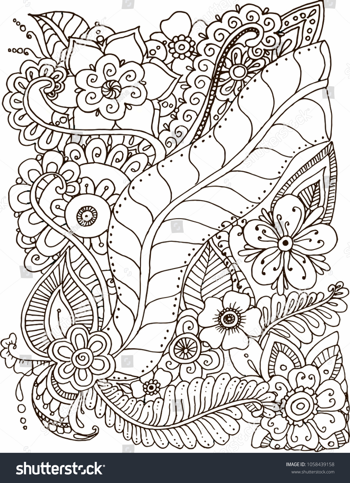 Pendrawn Coloring Page Flowers Doodle Isolated Stock Illustration ...