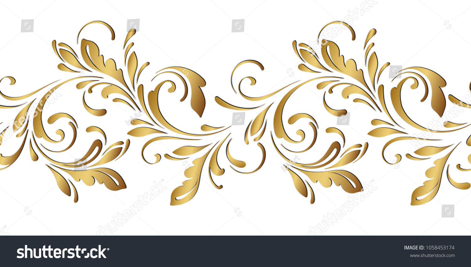Golden Floral Pattern Ornamental Seamless Border Stock Vector