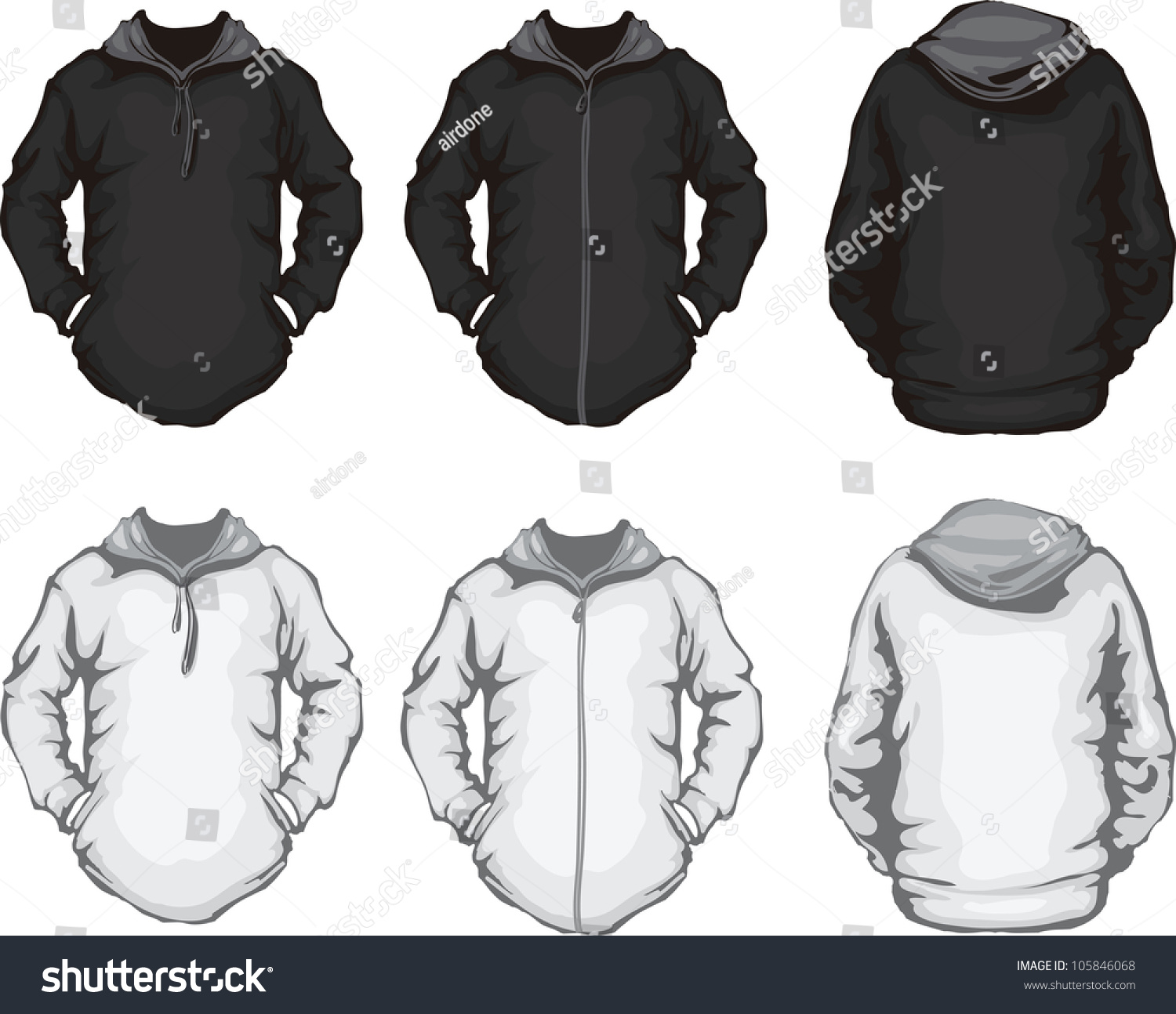 Shirt hoodie design - Vector Illustration Of Black White Men S Hoodie Sweatshirt Template Front And Back Design Check