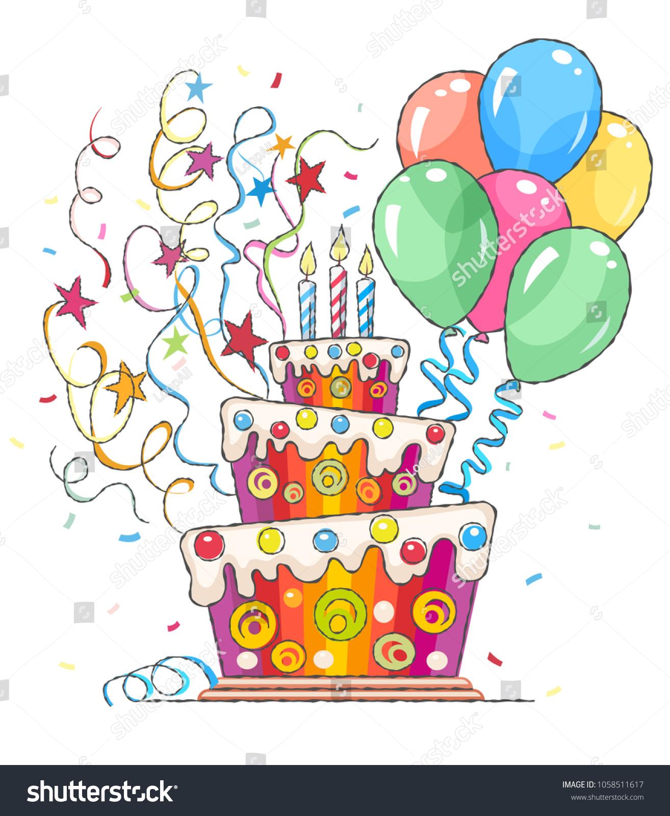 Birthday Cake Balloons Greetings Holiday Sweet Stock Vector Royalty