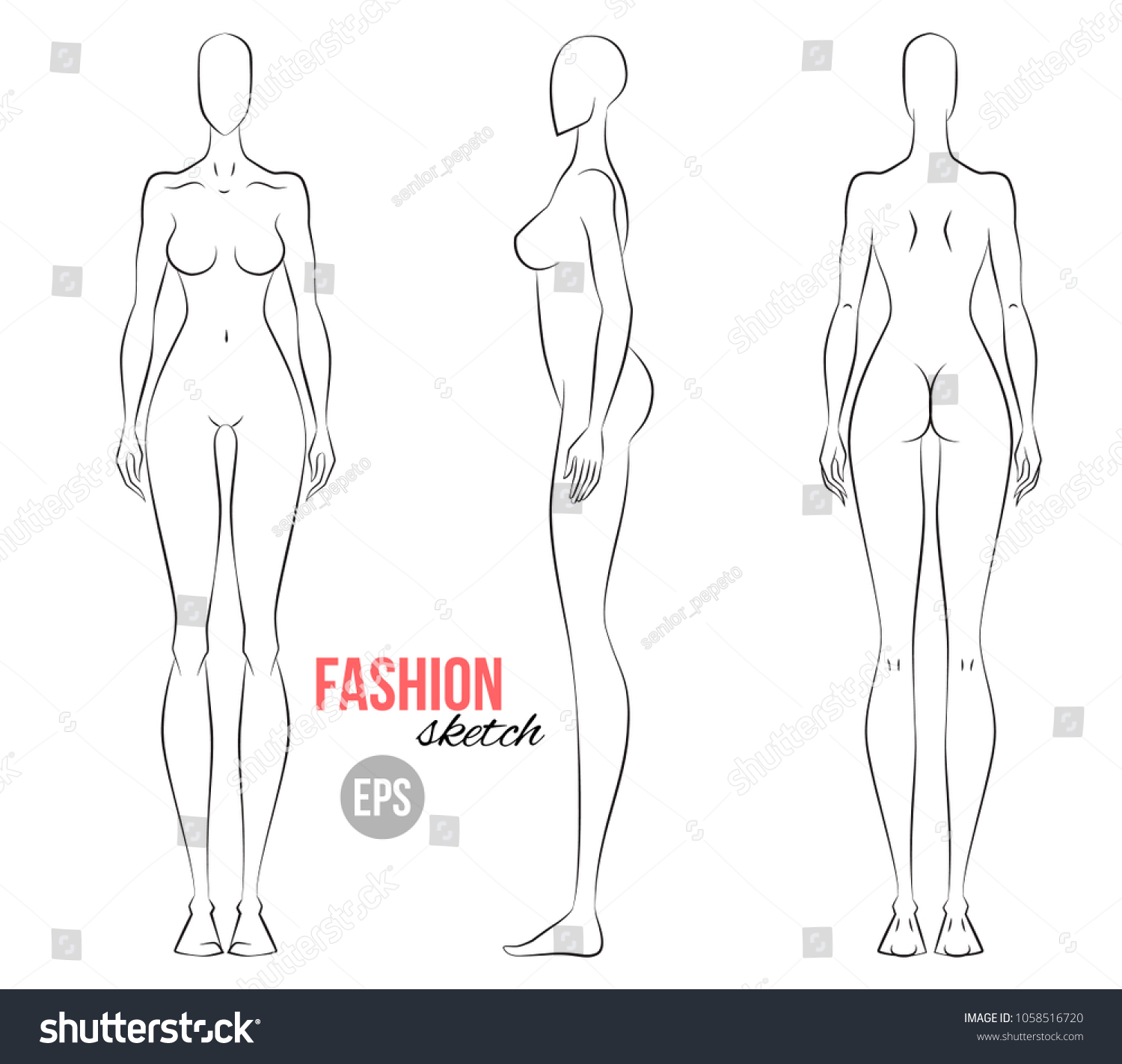 Womans Figure Sketch Different Poses Technical Stock Vector Royalty
