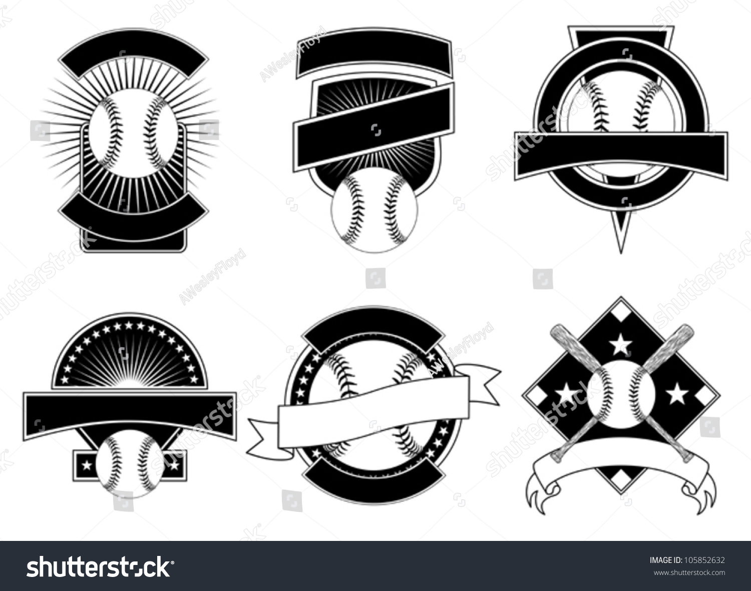 Baseball Design Templates Illustration Six Baseball Stock Vector