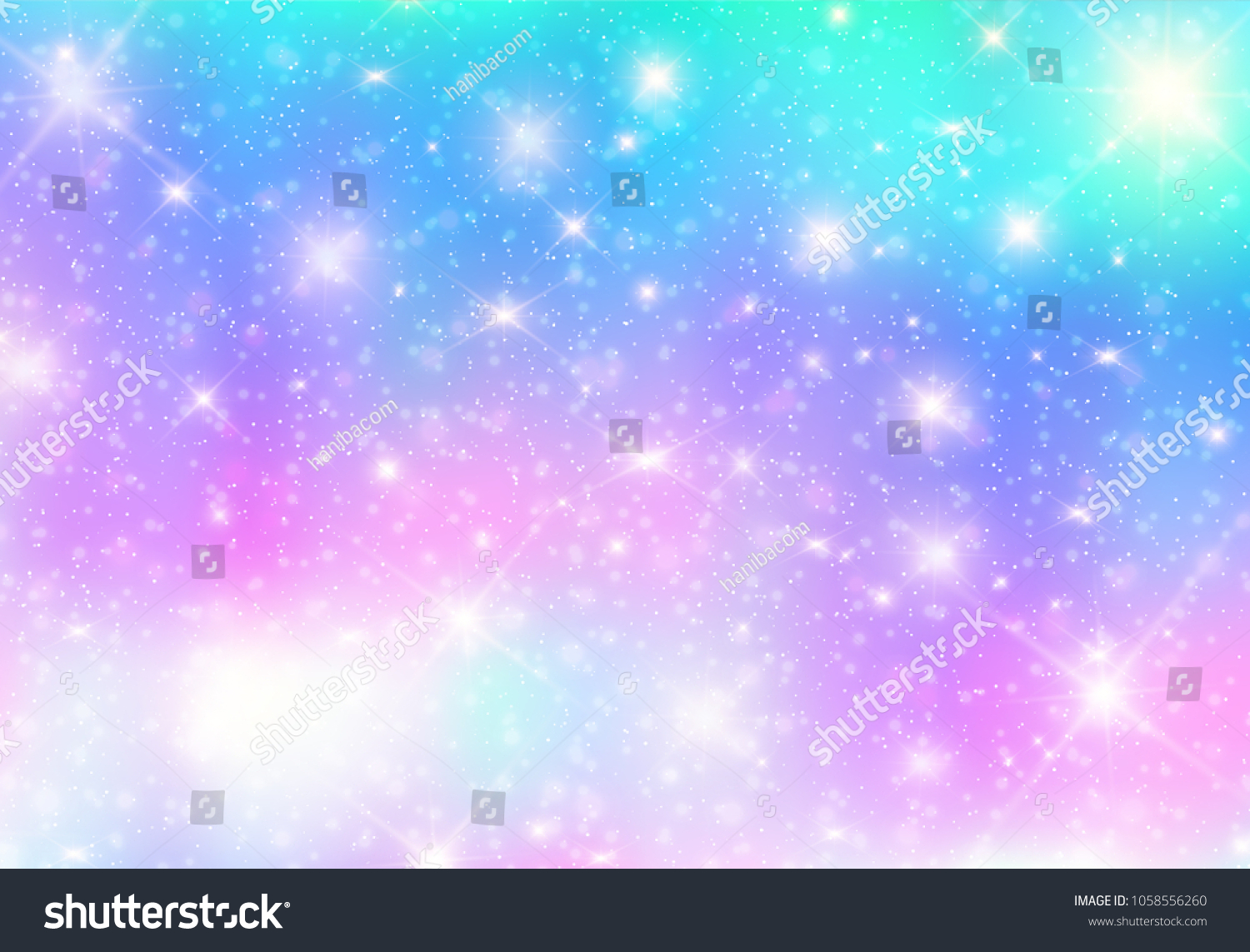 stock vector illustration of galaxy fantasy background and pastel color the unicorn in pastel sky with rainbow 1058556260