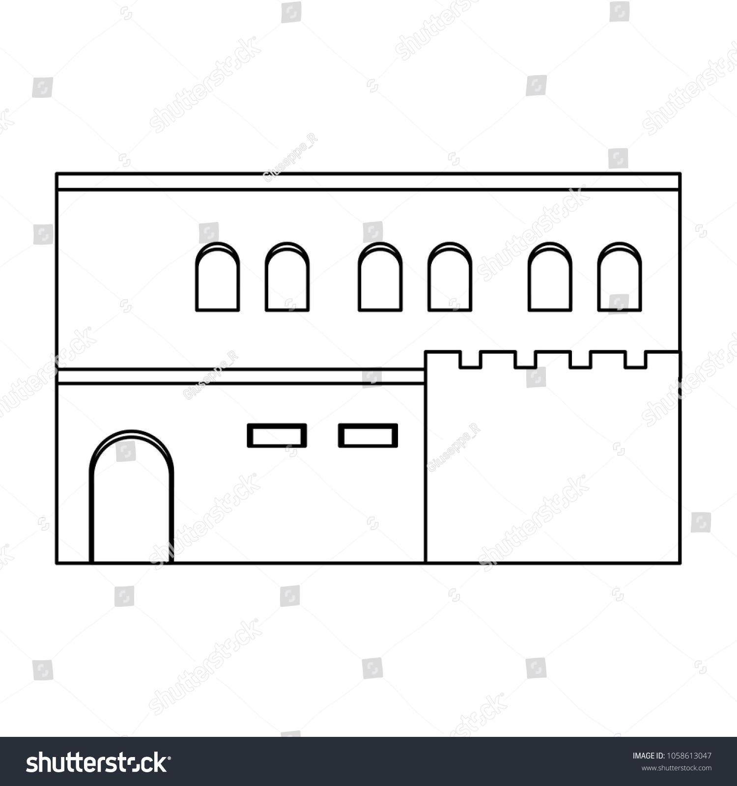 Line Arabic House Windows Door Design Stock Vector Royalty Free. Line Arabic House With Windows And Door Design. Wiring. A Diagram Of A House Arabic At Scoala.co