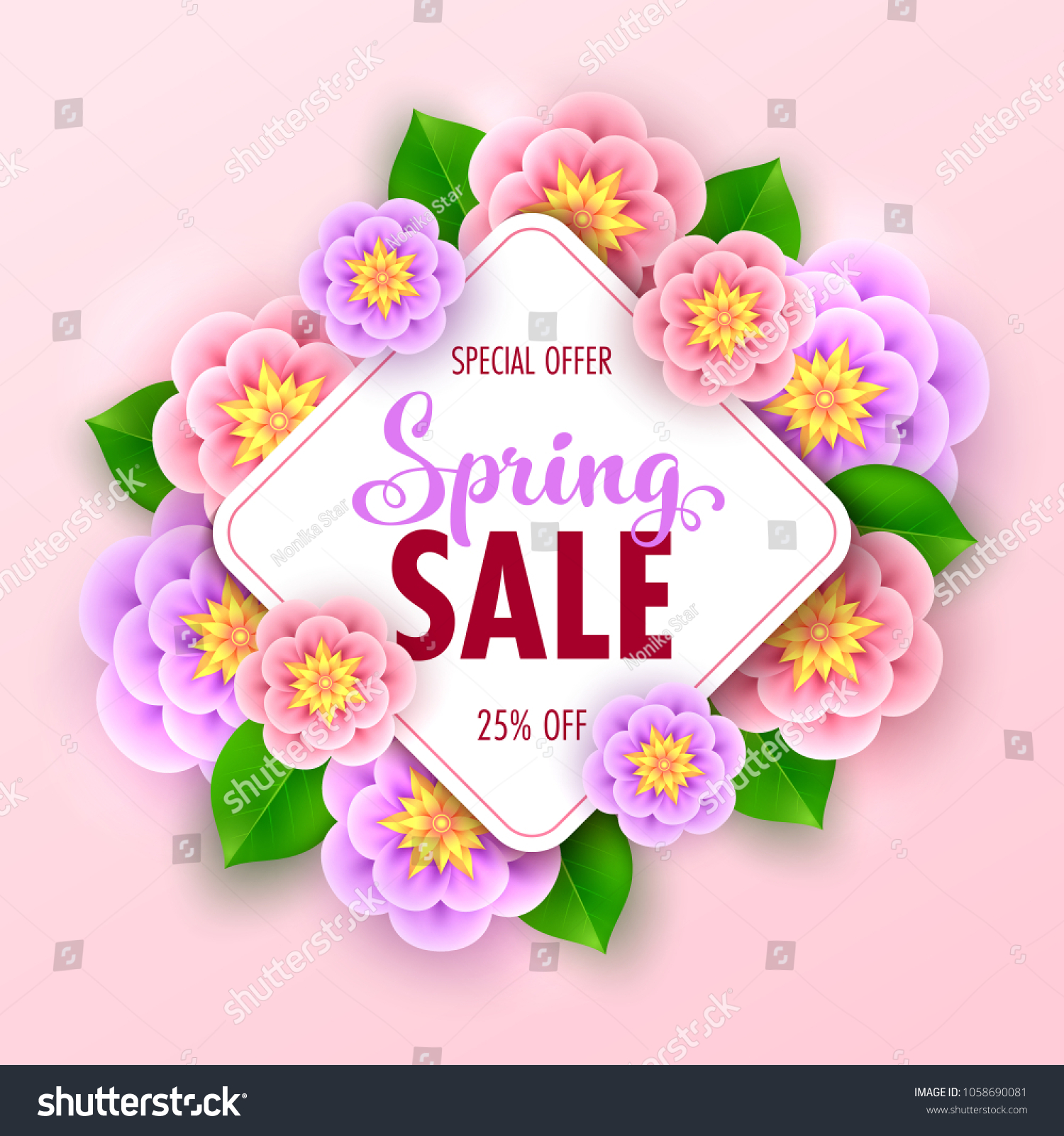 Floral spring sale banner beautiful flowers stock vector royalty floral spring sale banner with beautiful flowers for online shopping vector illustration izmirmasajfo