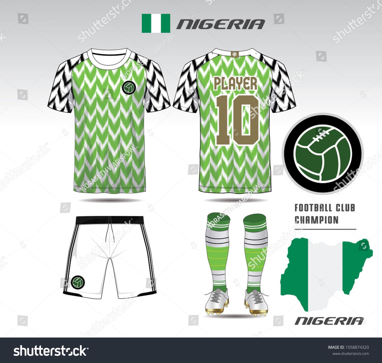 Nigeria Soccer Jersey Team Apparel Template Stock-Vektorgrafik ...