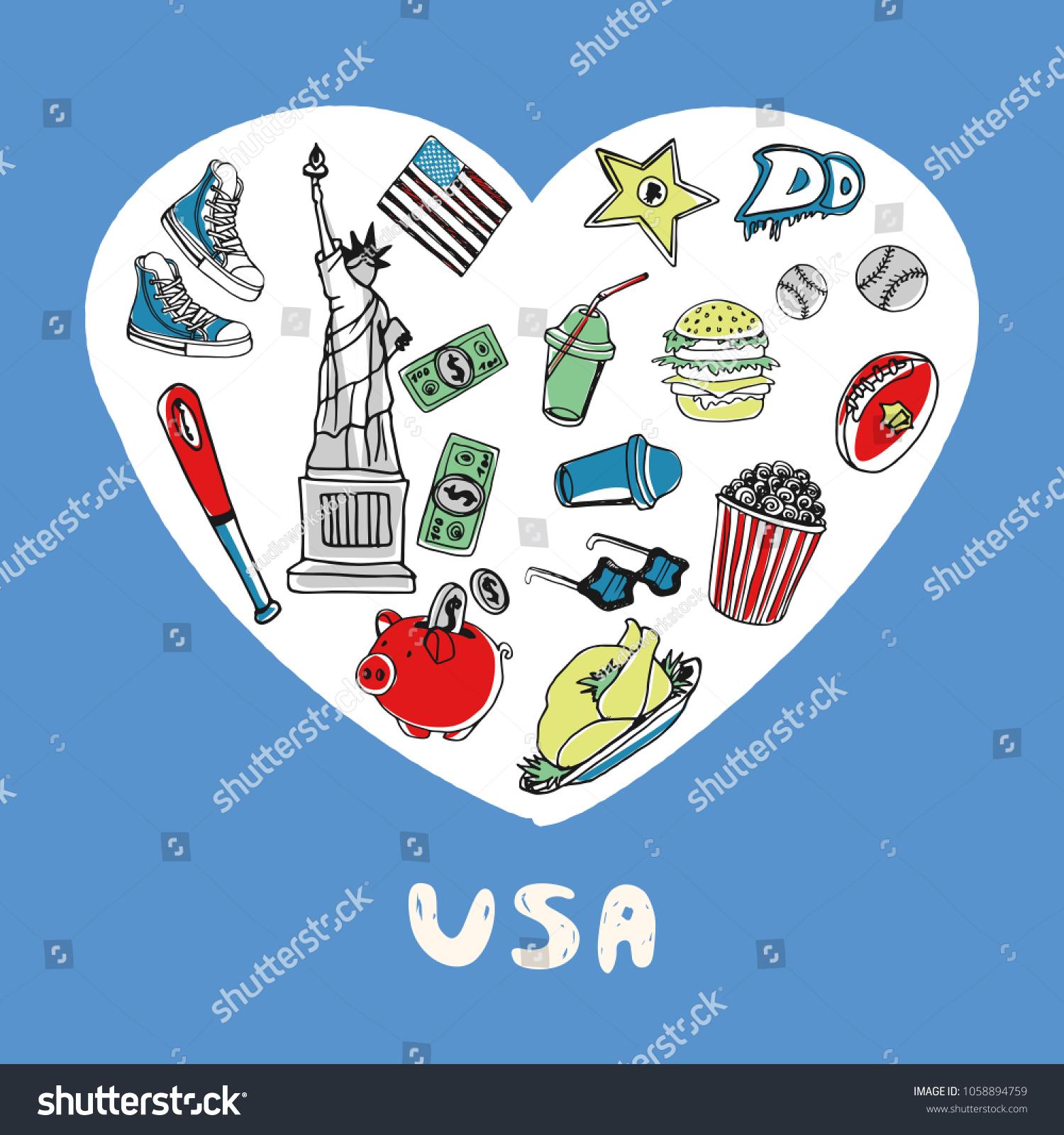 Love United States America White Heart Stock Illustration 1058894759
