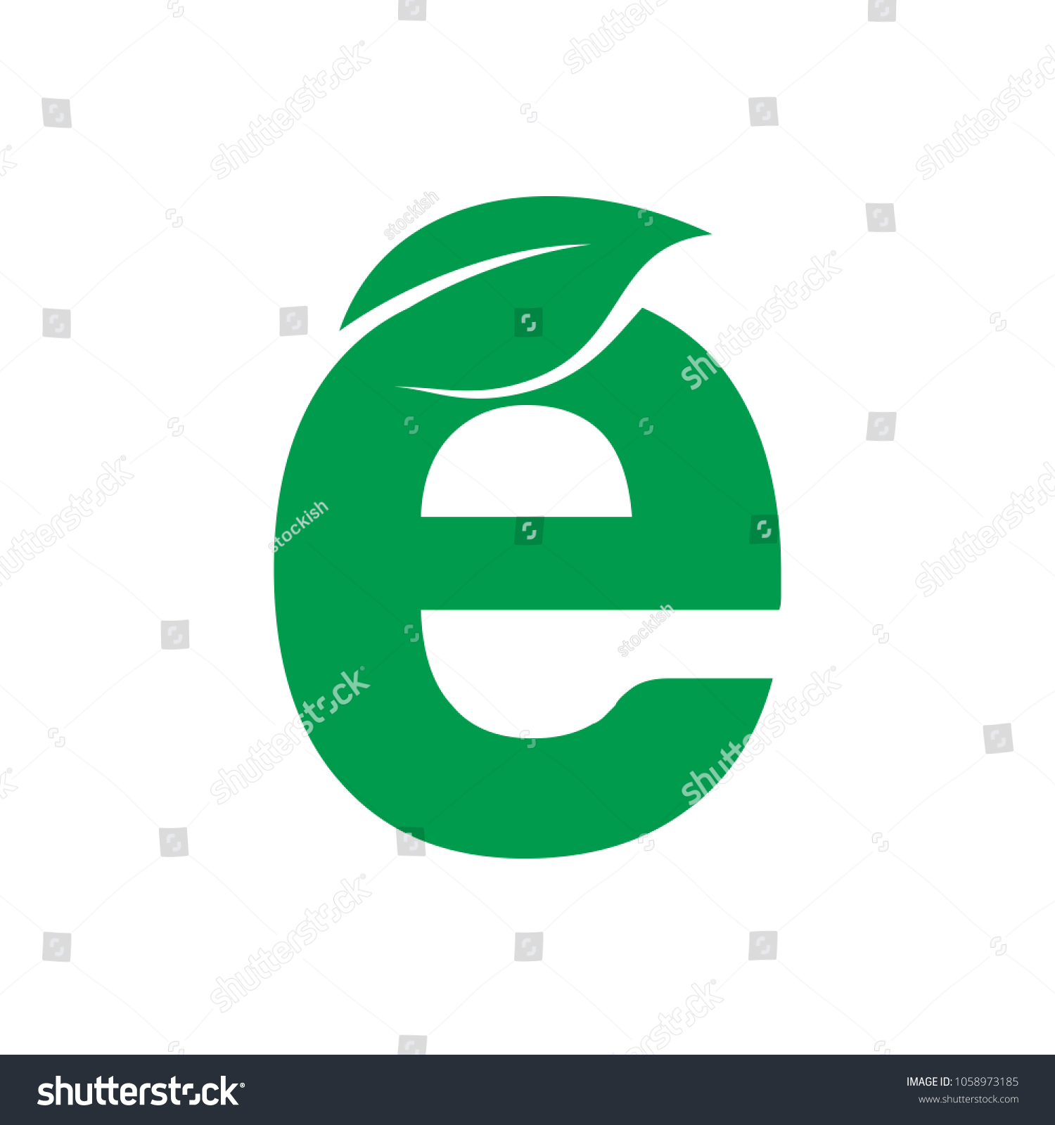 Letter e leaf symbol vector logo stock vector 1058973185 shutterstock letter e with leaf symbol vector logo for ecology and nature company biocorpaavc Gallery