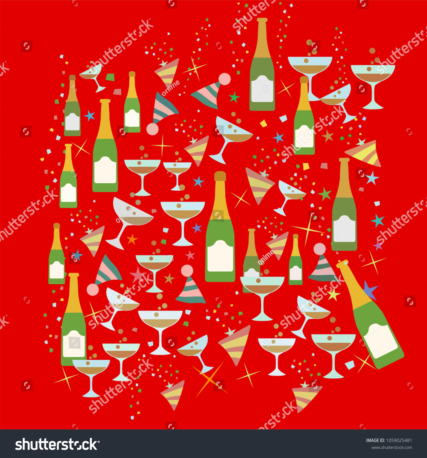 celebration toast christmas and new year party theme pattern theme illustration