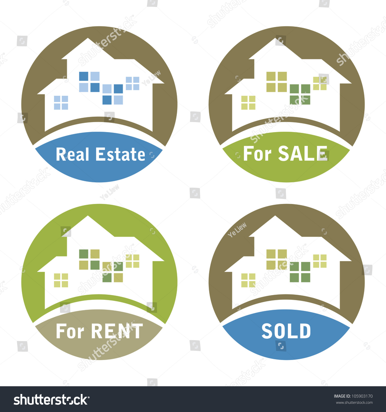 Real Estate For Rent: Real Estate Signs Sale Rent Sold Stock Vector 105903170