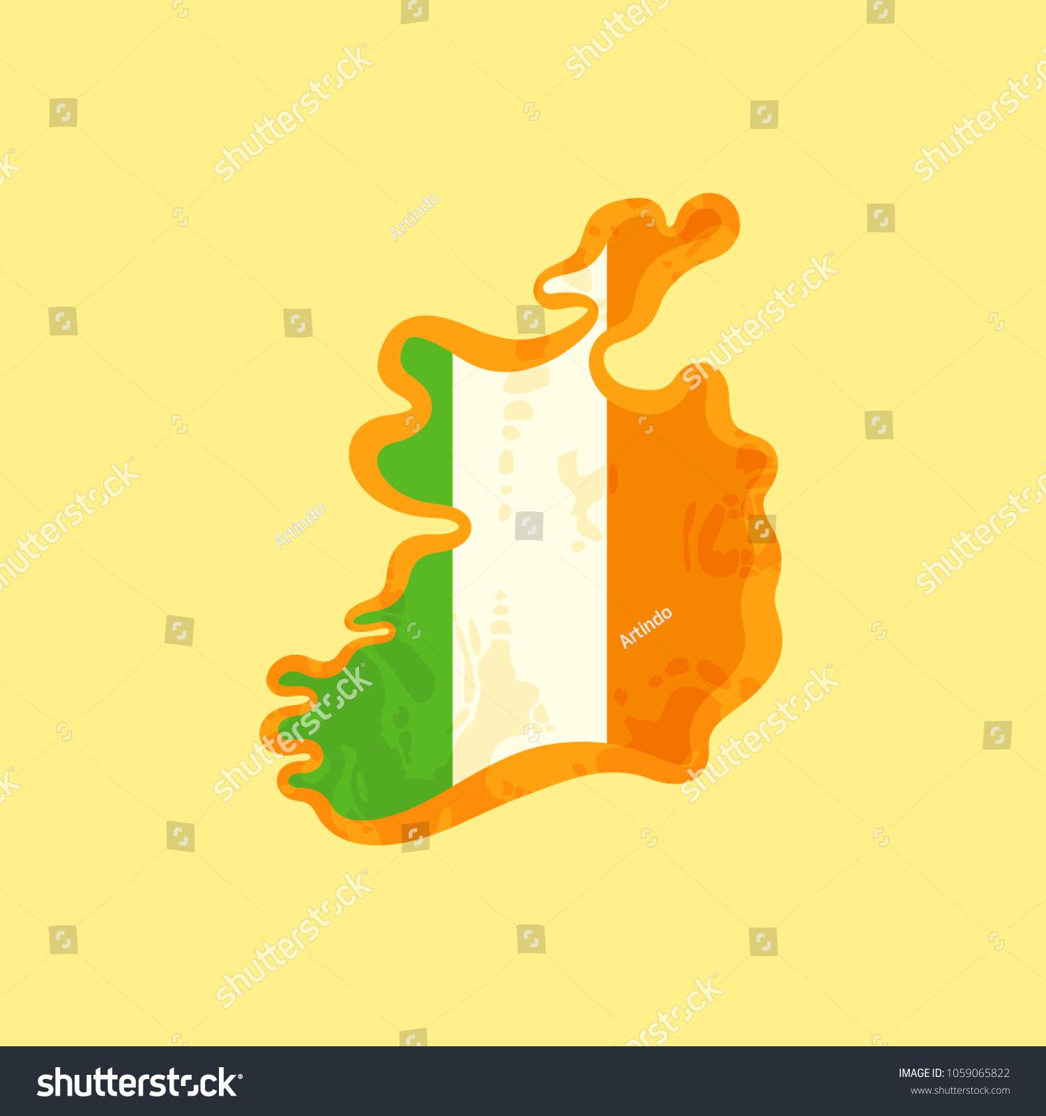 Map Of Ireland In Irish.Map Ireland Colored Irish Flag Marked Stock Vector Royalty Free