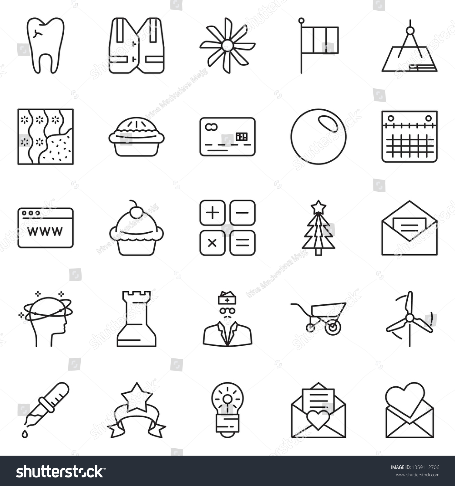 Thin Line Icon Set Newsletter Vector Stock Vector (Royalty Free ...