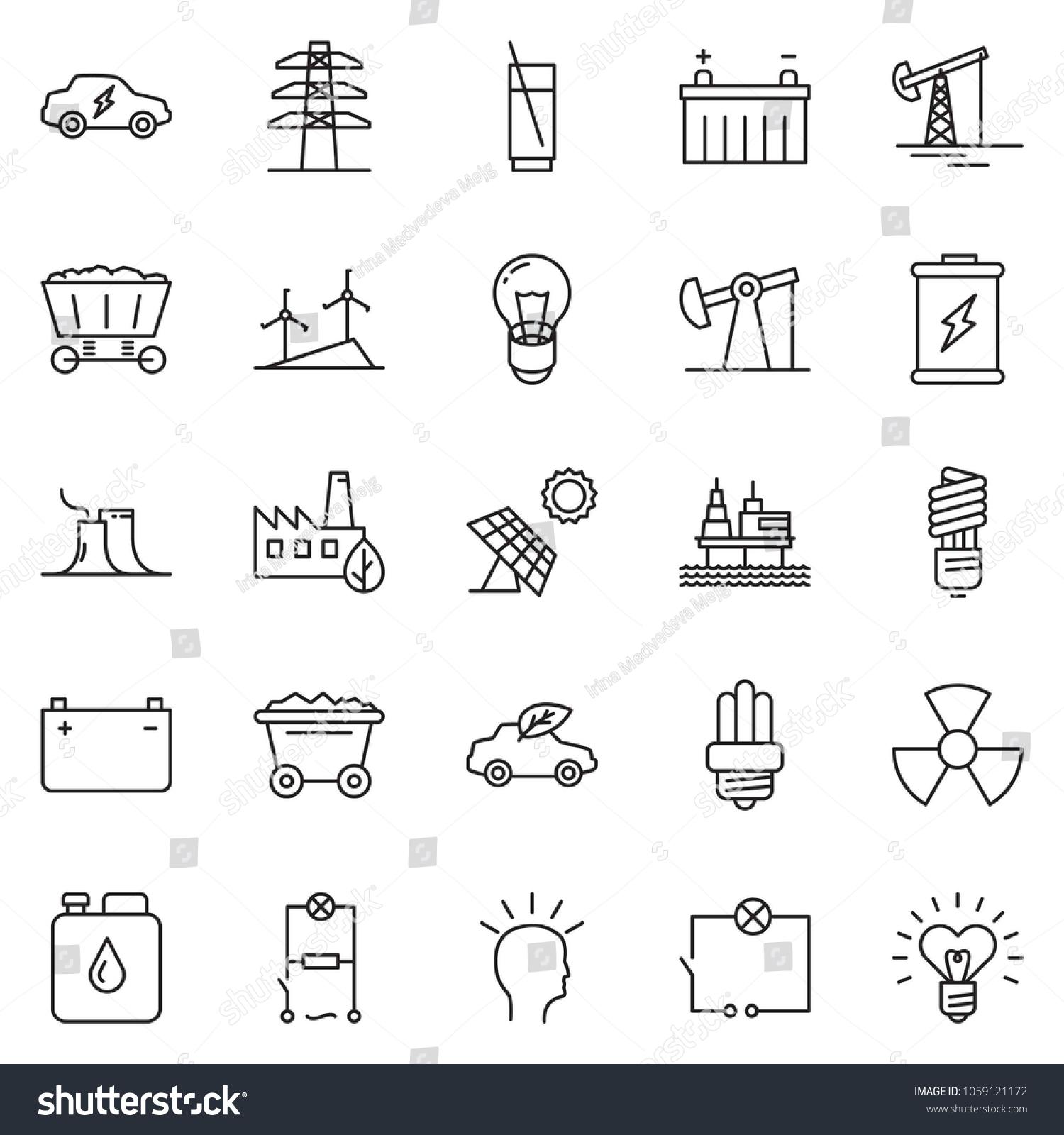 thin line icon set idea vector stock vector royalty thin line icon set idea vector oil jack bulb wiring soda