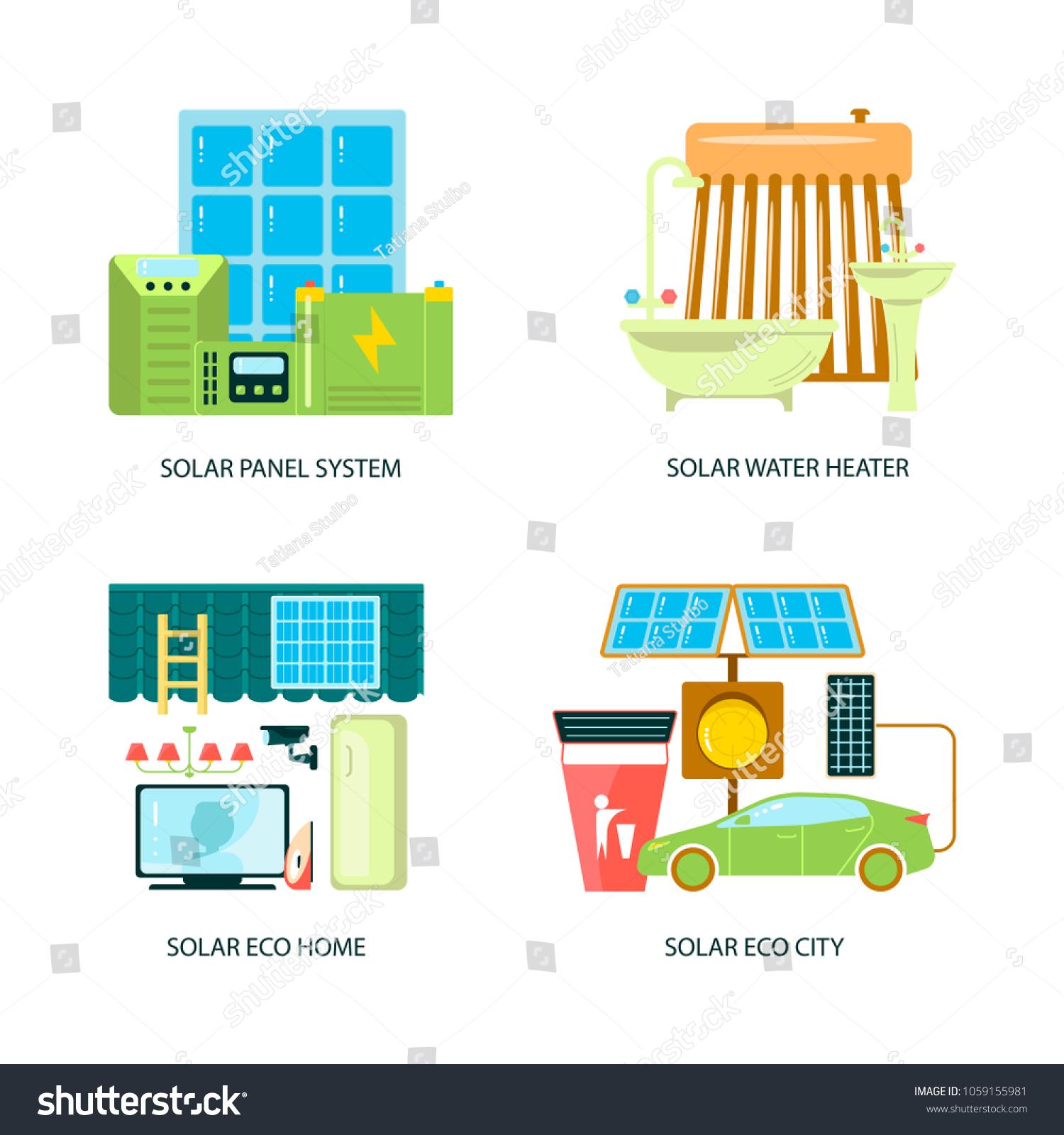 Modern Eco Technologies City Solar Energy Stock Photo (Photo, Vector ...