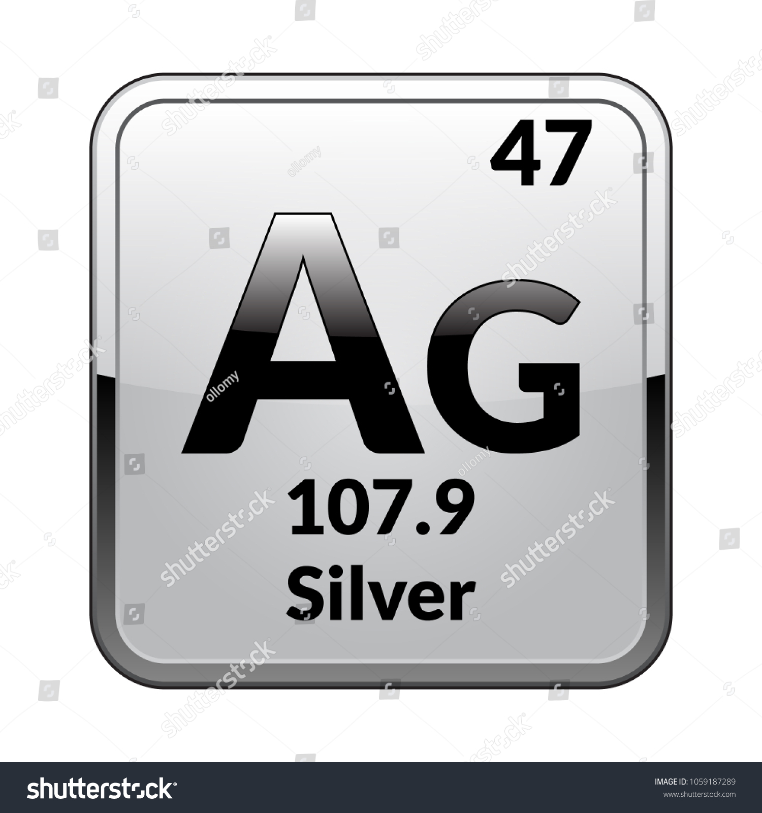 Silver Symbol Chemical Element Periodic Table On Stock Vector