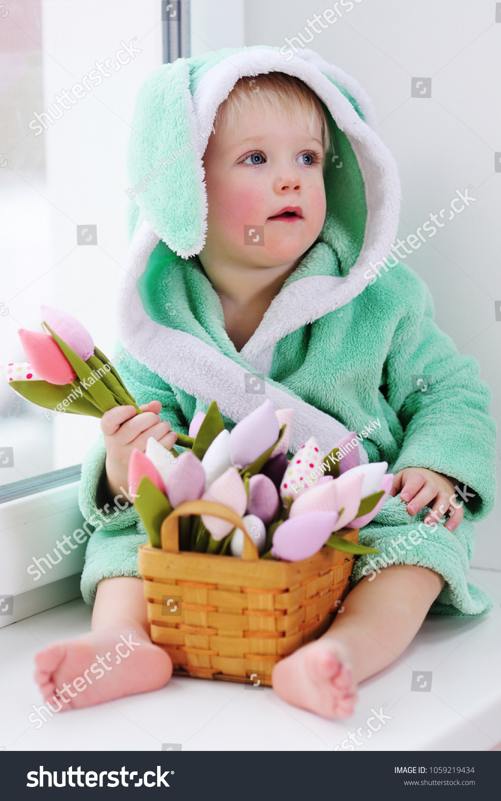 Cute Kid Easter Bunny Costume Bouquet Stock Photo Edit Now
