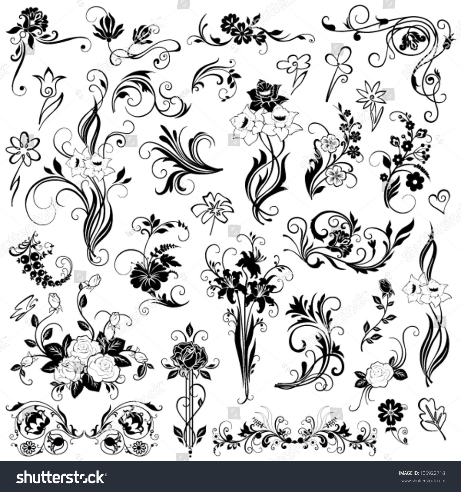 Set Of Black Flower Design Elements Stock Vector: Set Vector Floral Elements Stock Vector 105922718
