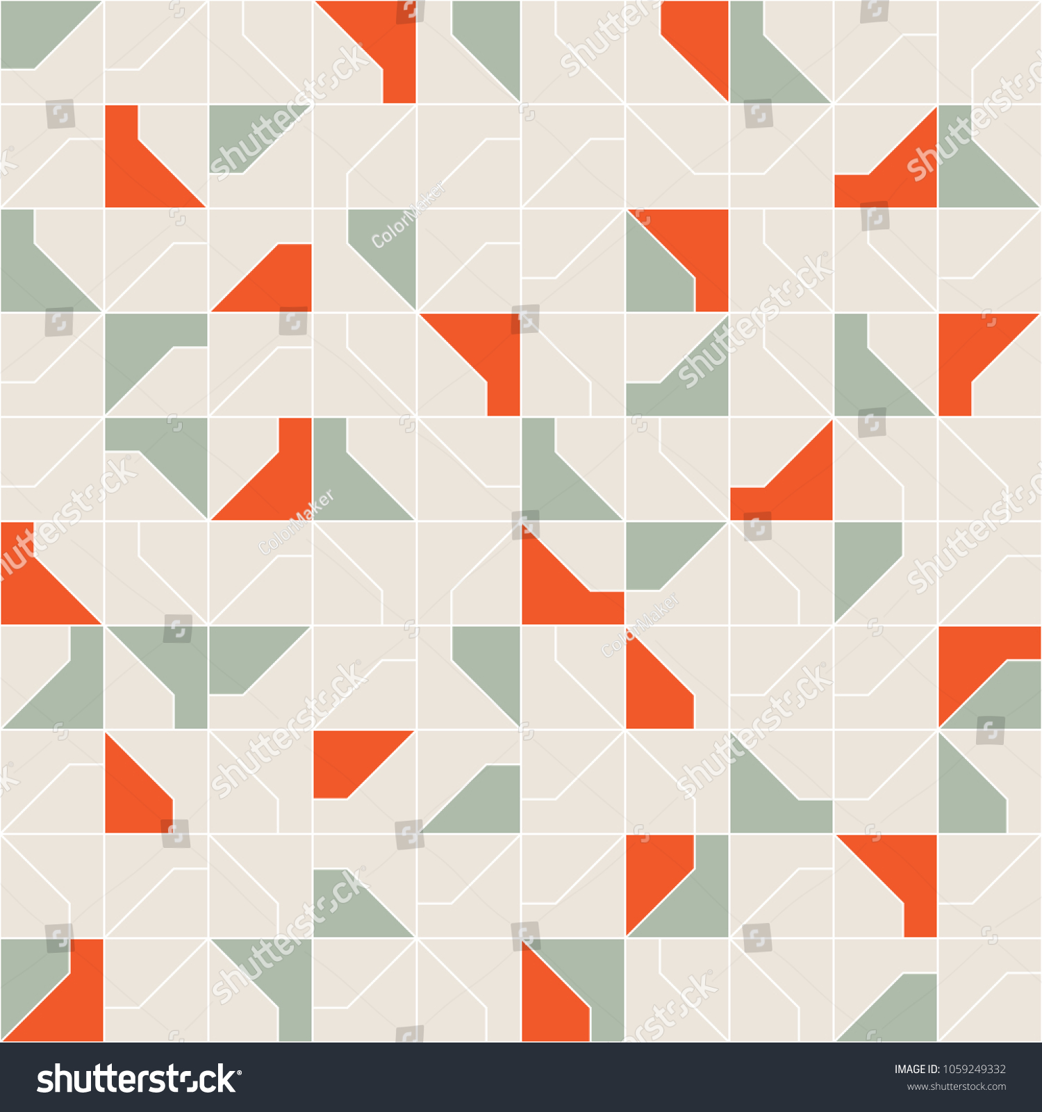 Abstract Modernist Style Geometric Tiles Seamless Pattern Design, Repeat Background