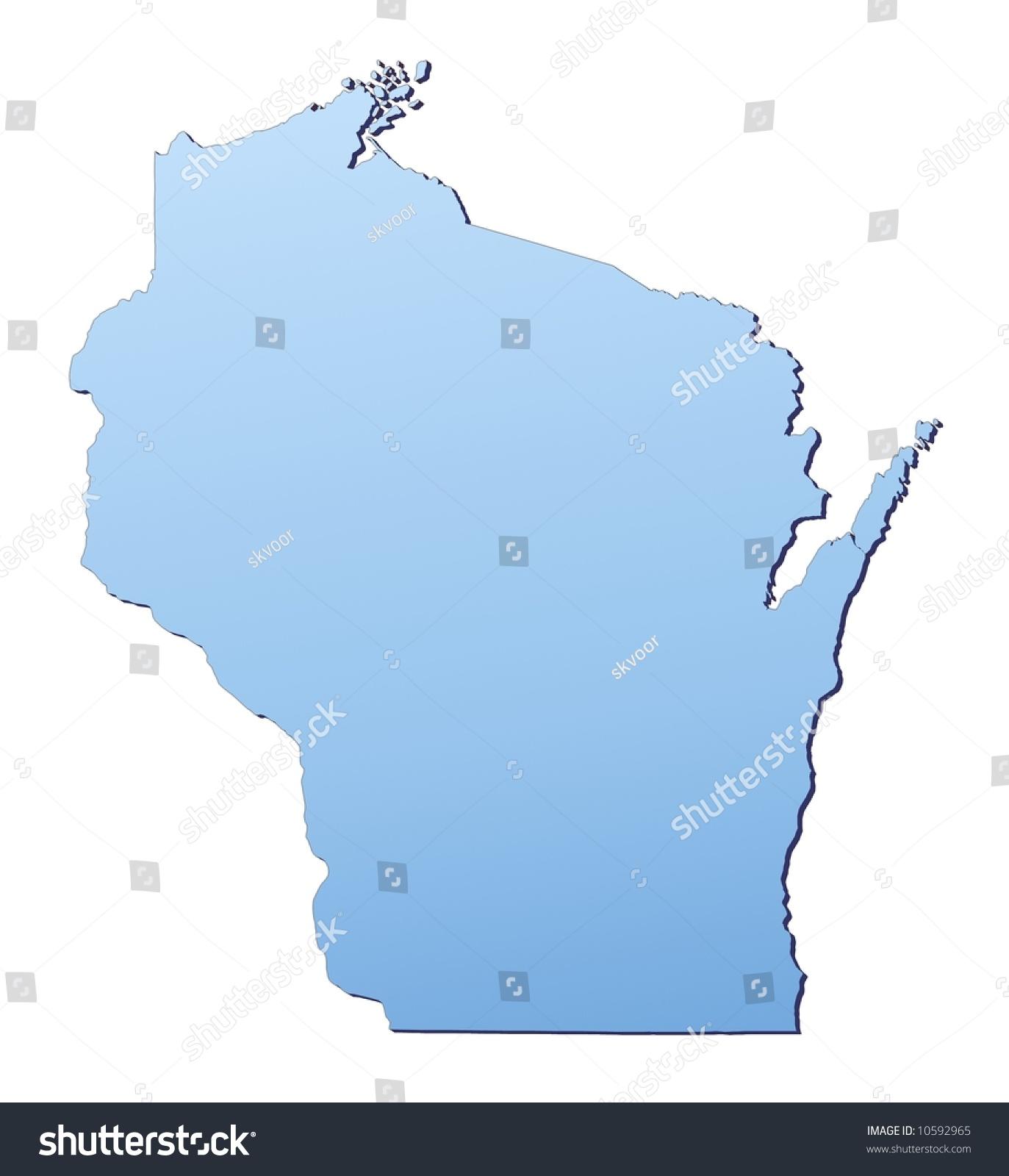 Wisconsin USA Map Filled Light Blue Gradient Stock Illustration ...