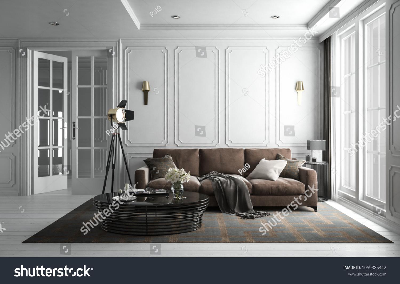 Interior Living Room Studio White Modern Stock Illustration ...