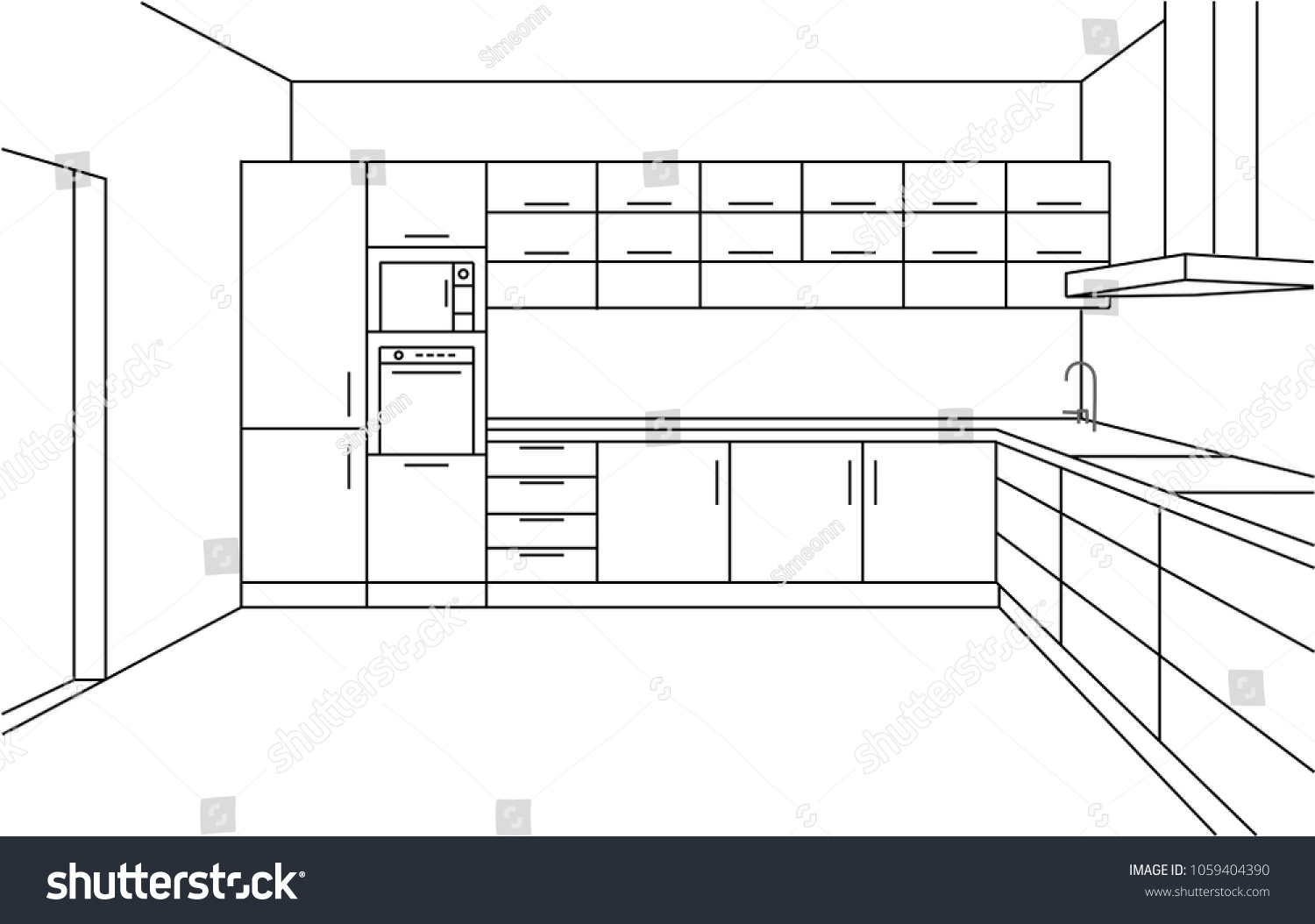 Kitchen corner sketch modern plan interior front view perspective line drawing kitchen project interior