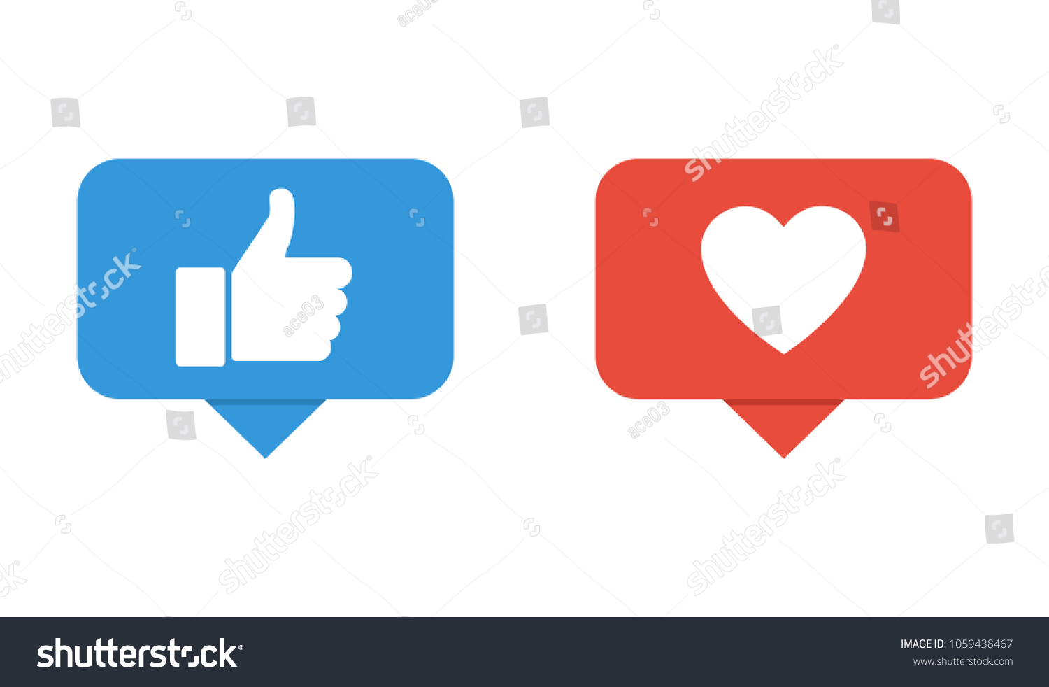 Hand Like Button Facebook Icons Heart Stock Vector Royalty Free