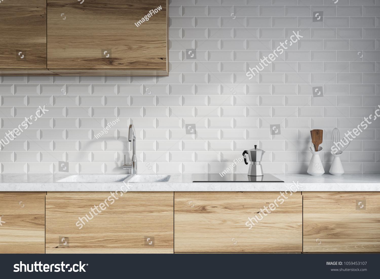 Modern Kitchen Interior White Brick Walls Stock Illustration ...