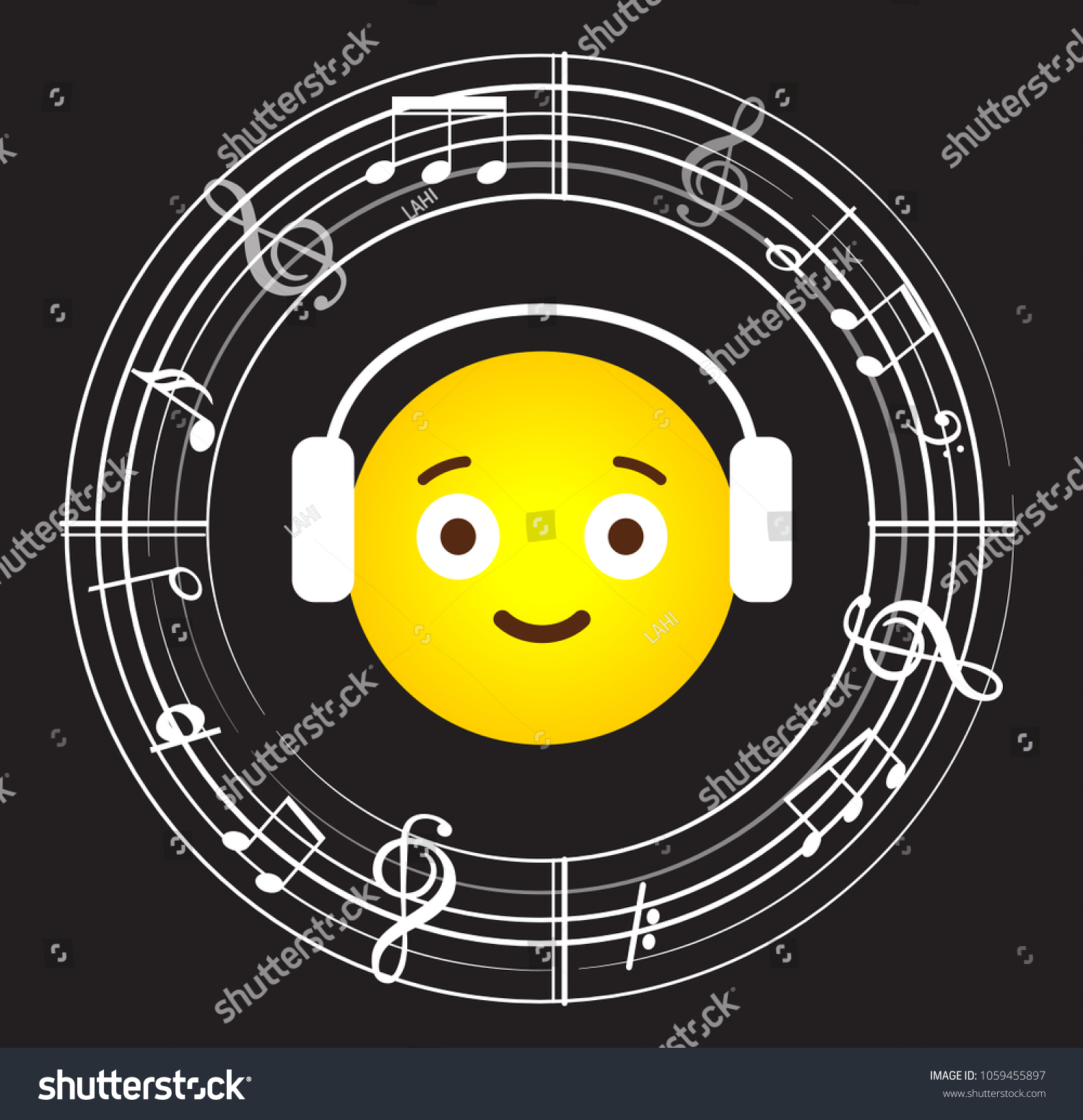 Music Note Background Music Symbols Headpphones Stock Vector