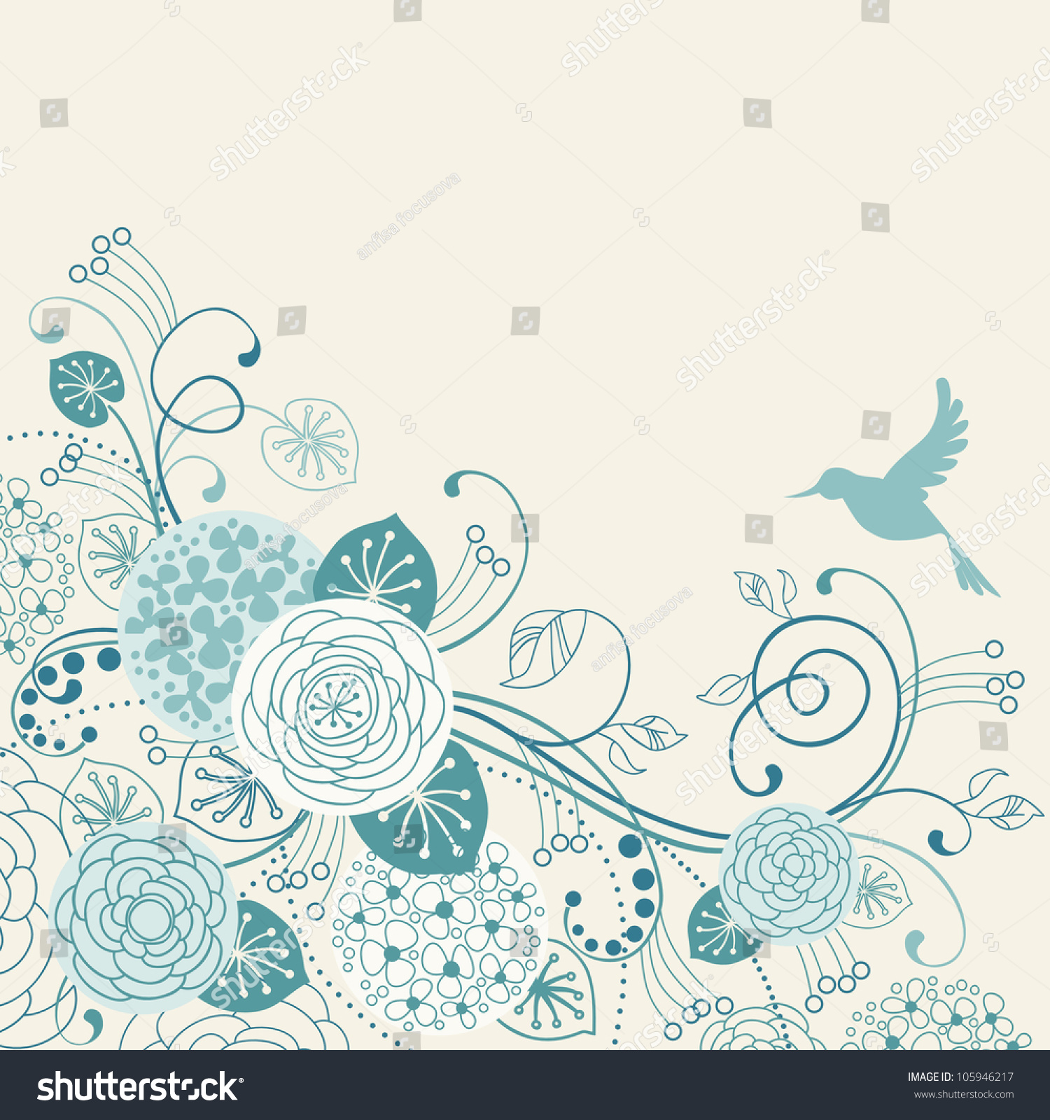 vector background flowers leaves bird stylized stock vector
