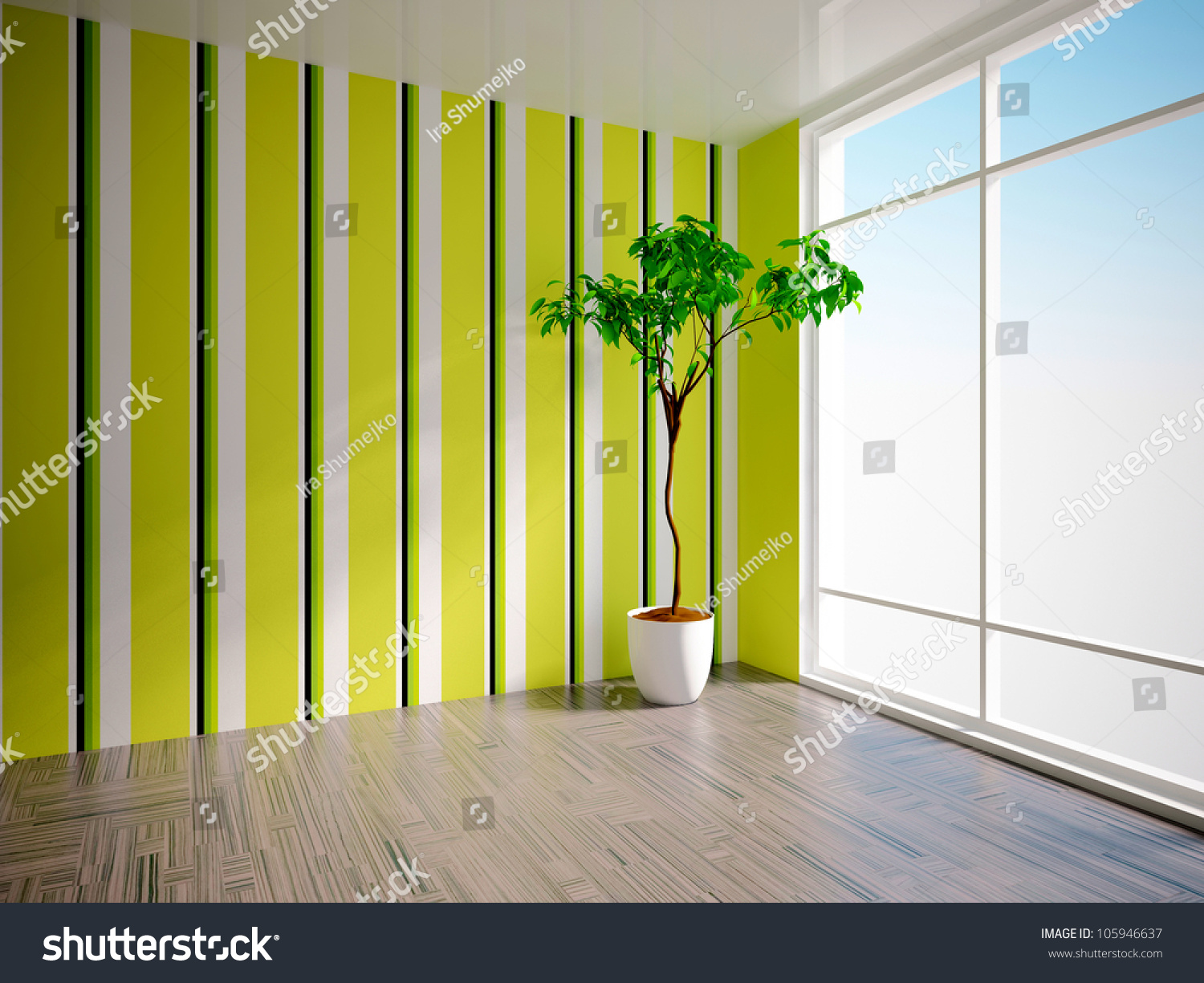 Empty Interior Tree Striped Wall Stock Illustration 105946637 ...