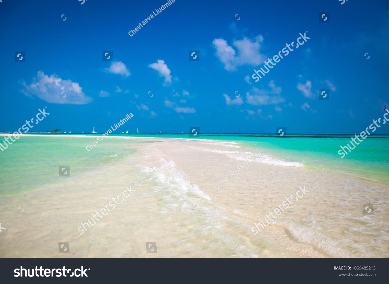 Beautiful White Send Beach Tropical Island Stock Photo Edit Now