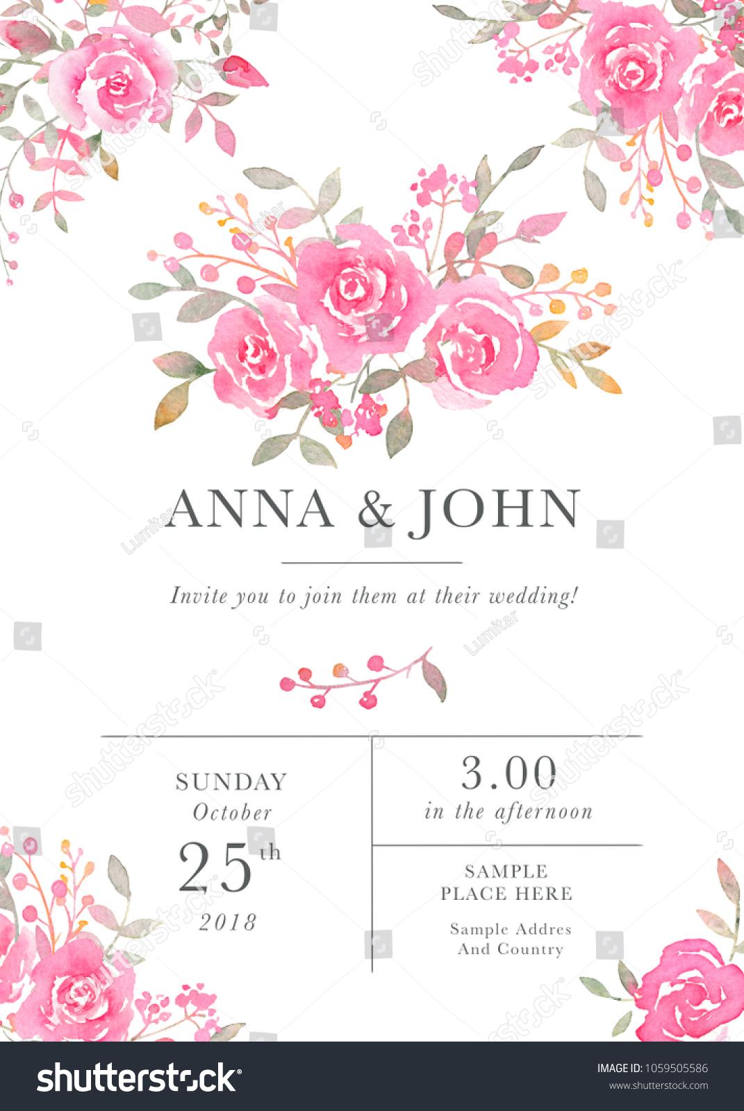 Wedding Invitation Card Template Watercolor Rose Stock Illustration ...