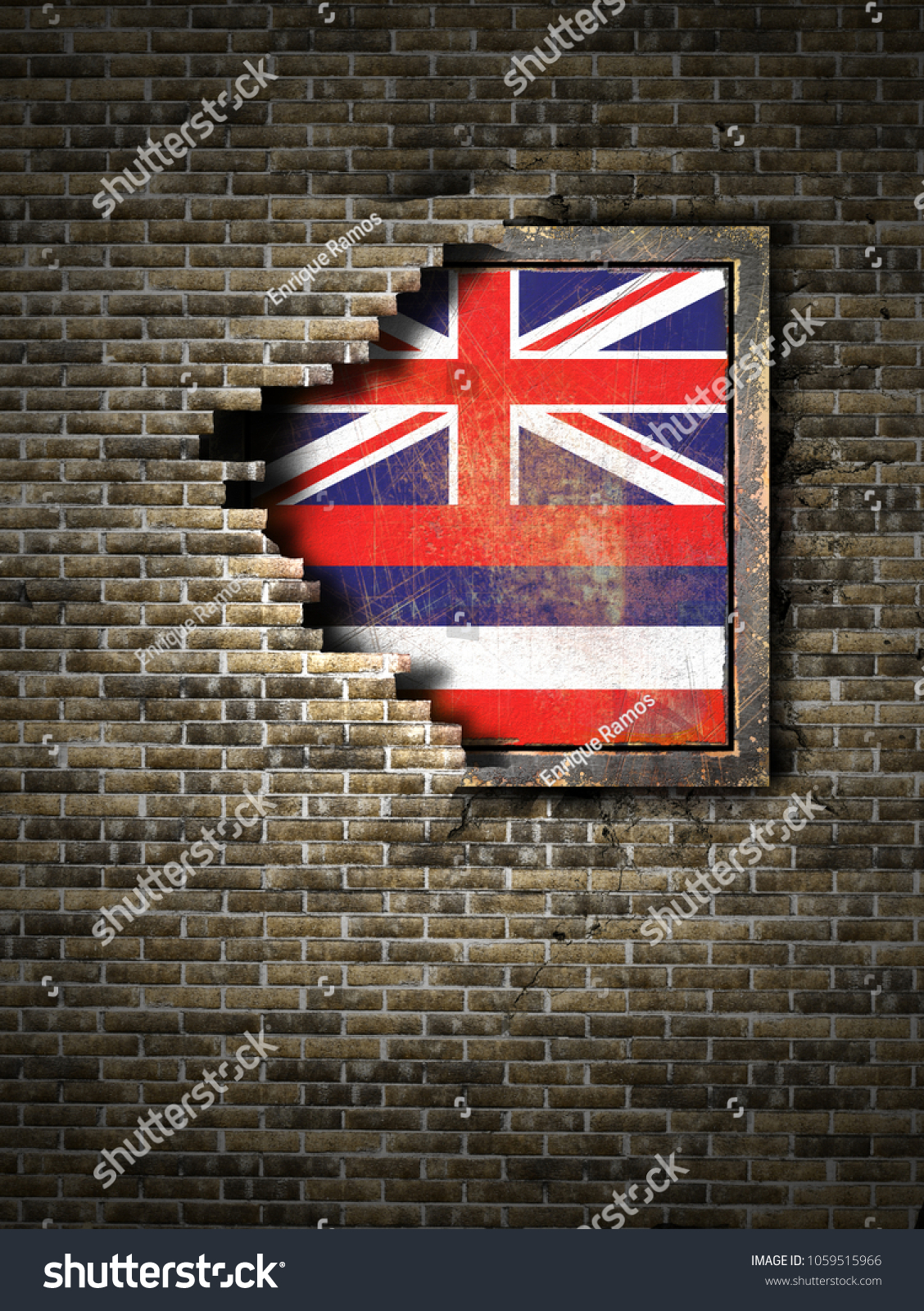 3 D Rendering Hawaii State Flag Over Stock Illustration 1059515966