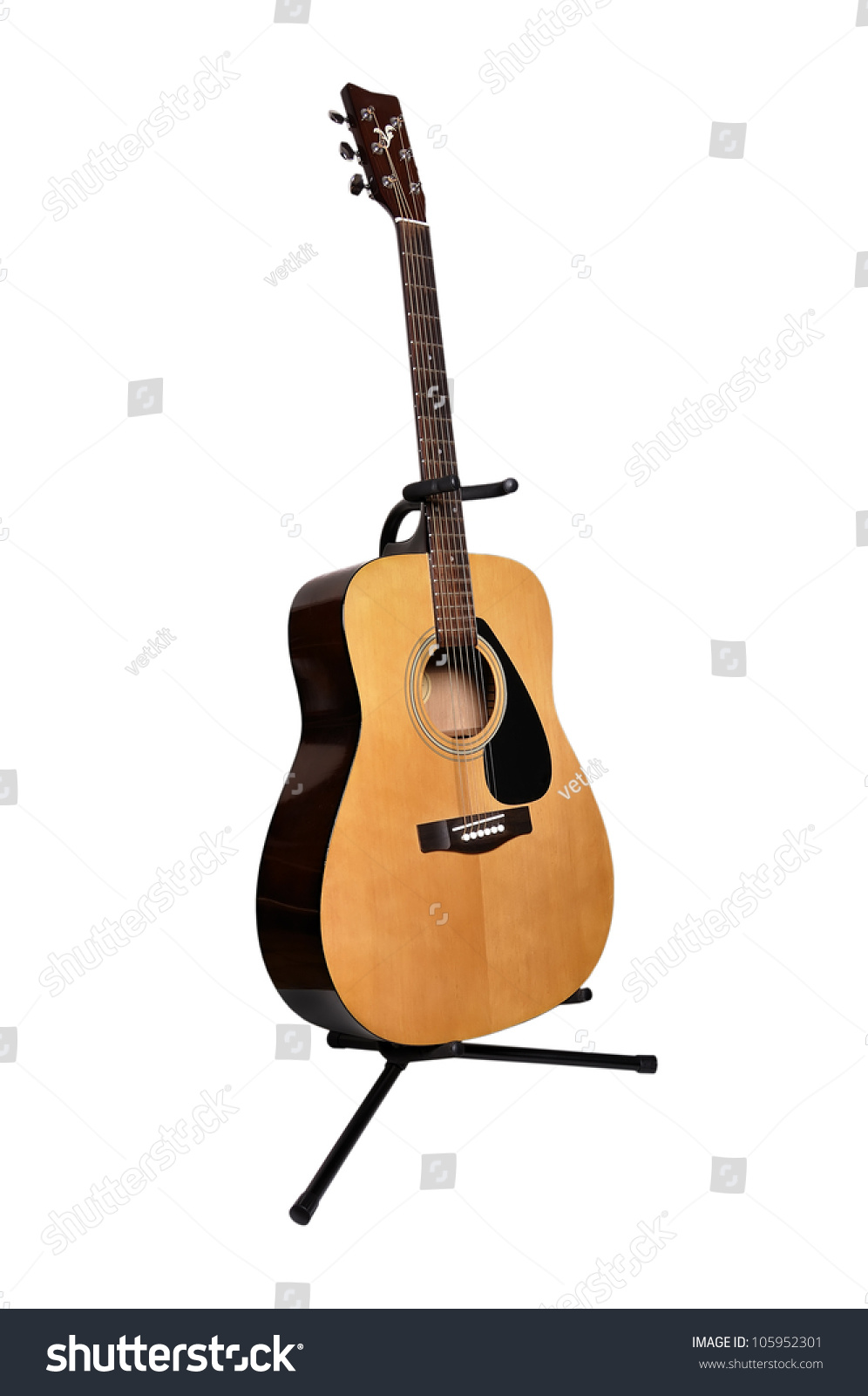 Acoustic Guitar Stand On White Background Stock Photo Edit Now